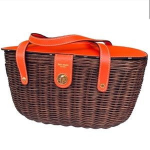 Kate Spade NY Wicker Picnic Basket Handbag Rare!